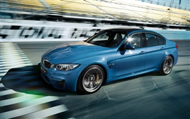 Preview wallpaper 2015 BMW M3 Sedan F80 blue car speed