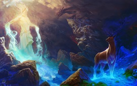 Preview wallpaper Art painting, deer, rocks, dragon, magic