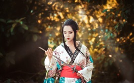 Preview wallpaper Asian girl, Japanese, sword