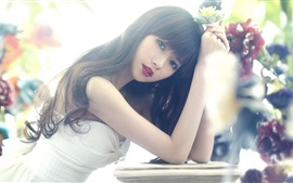 Preview wallpaper Asian girl, long hair, eyes, red lips, flower