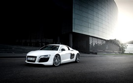 Preview wallpaper Audi R8 white car, city, glare