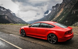 Preview wallpaper Audi RS7 red car side view