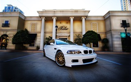 BMW M3 E46 white car front view