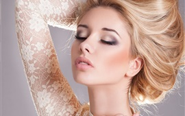 Preview wallpaper Beautiful blonde girl, makeup, eyes closed