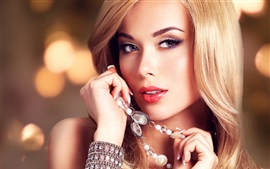 Blonde girl, eyes, face, jewelry, bracelet