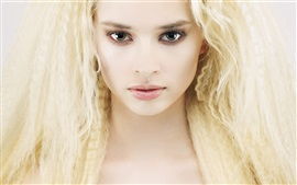 Preview wallpaper Blonde girl, hair, face, eyes, eyelashes