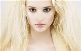 Loira menina, cabelo, rosto, olhos, cílios
