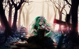 Preview wallpaper Blue hair anime girl, playing violin, flowers, trees