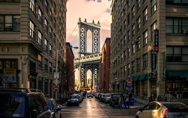 Preview wallpaper Brooklyn Park, Manhattan Bridge, USA, buildings, road, cars