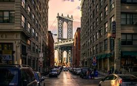 Brooklyn Park, Manhattan Bridge, США, дома, дороги, автомобили