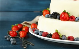 壁紙のプレビュー ケーキ、デザート、イチゴ、ブラックベリー、食品