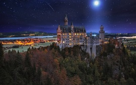 Preview wallpaper Castle, Germany, night, lights, moon, trees