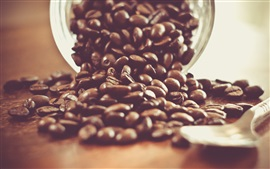 Preview wallpaper Coffee beans, spoon, still life