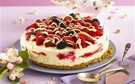 Sobremesa, morangos, amoras, bolo