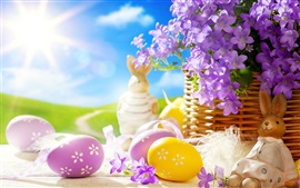 Preview wallpaper Easter, spring, eggs, Bunny, flowers