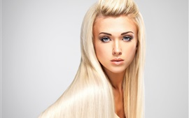 Preview wallpaper Fashion blonde girl, long hair, makeup