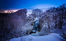 France, winter, snow, mountains, river, waterfall, trees, blue, dusk