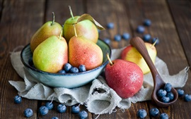 Preview wallpaper Fruits, pears, blueberries, spoon, still life