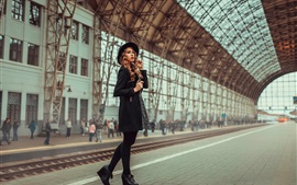 Preview wallpaper Girl at train station