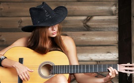 Girl play guitar, music, hat