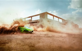 Green Lamborghini supercar, speed, dust, drift