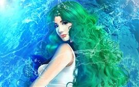 Green hair fantasy girl, water