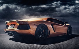 Preview wallpaper Lamborghini Aventador LP700-4 orange supercar back view, dusk