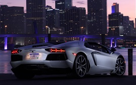 Preview wallpaper Lamborghini Aventador LP700-4 supercar, city, night
