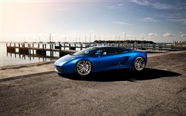 Preview wallpaper Lamborghini Gallardo blue supercar, dock, boats