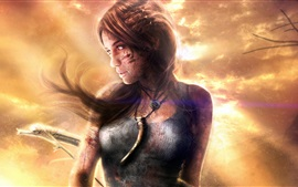 Preview wallpaper Lara Croft, Tomb Raider, wind, dusk
