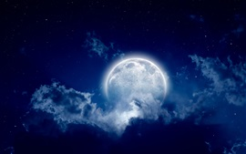 Moon, moonlight night, cloudy sky