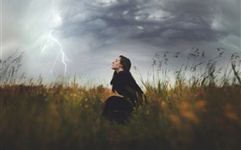 Preview wallpaper Nature, storm, clouds, girl, grass, lightning