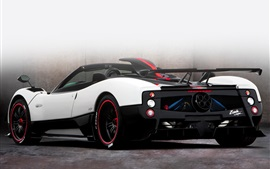 Pagani Zonda roadster white supercar back view Wallpapers Pictures Photos Images