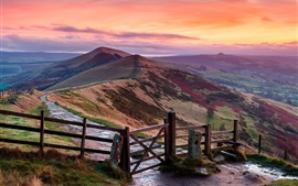 Preview wallpaper Peak District, England, hills, fence, dusk, red sky