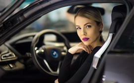 Pure girl, makeup, car