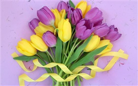 Purple yellow flowers, tulips bouquet, ribbon