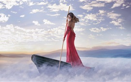 Preview wallpaper Red dress girl, boat, fog, clouds, coast