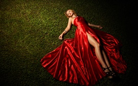 Preview wallpaper Red dress girl lying grass
