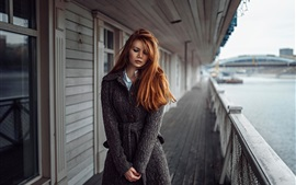 Preview wallpaper Sadness girl, redhead, coats, river