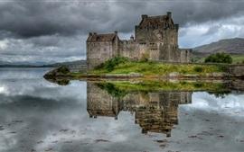미리보기 배경 화면 스코틀랜드, 성, 호수, 잔디, 하늘, 구름