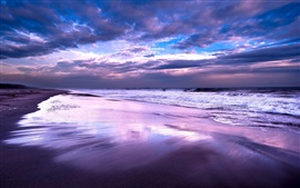 Preview wallpaper Sea, ocean, beach, night, sky, clouds, dusk