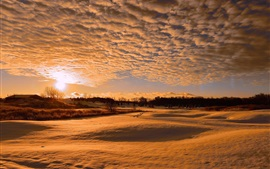 Preview wallpaper Snow winter, clouds, sunset, warm sunlight