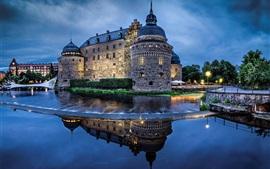 Suecia, castillo, río, agua, noche, iluminación, cielo