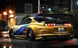 Toyota yellow race car, lights, night, rain Wallpapers Pictures Photos Images