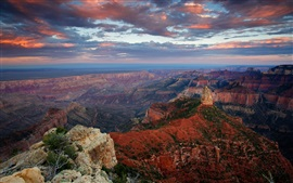 Preview wallpaper USA, Arizona, Grand Canyon, cliff, rock, sky, clouds, dusk