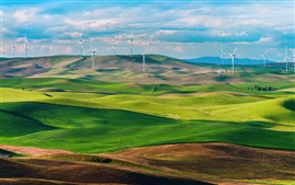 USA, Washington, green fields, wind turbines