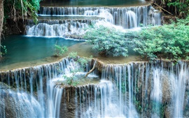 Waterfalls, bushes, nature scenery