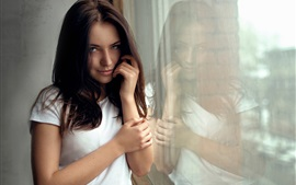 Preview wallpaper White clothes girl, portrait, reflection, window