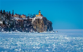 Winter, snow, lighthouse, frozen