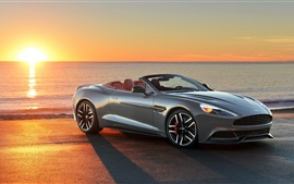 Preview wallpaper 2013 Aston Martin car, sunset, sea